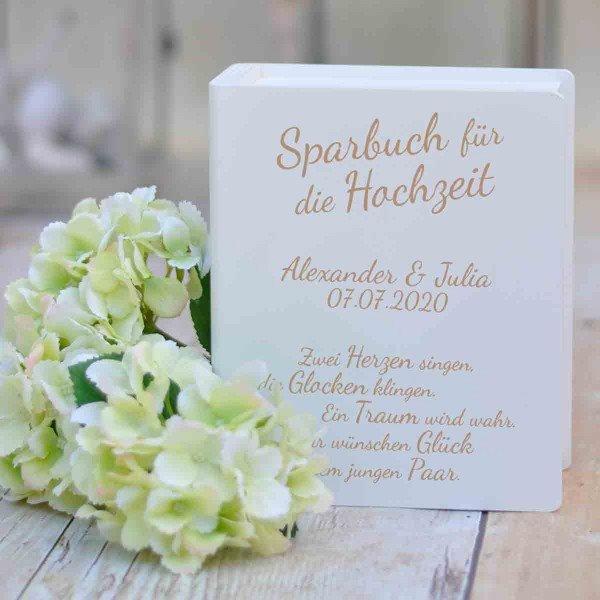 Sparbuch mit Hochzeitssprüchen und Gravur