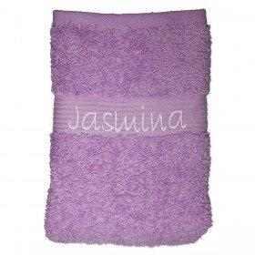 Handtuch in Flieder - mit Wunschname