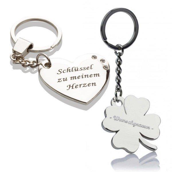 Schlüsselanhänger - Kleeblatt oder Herz