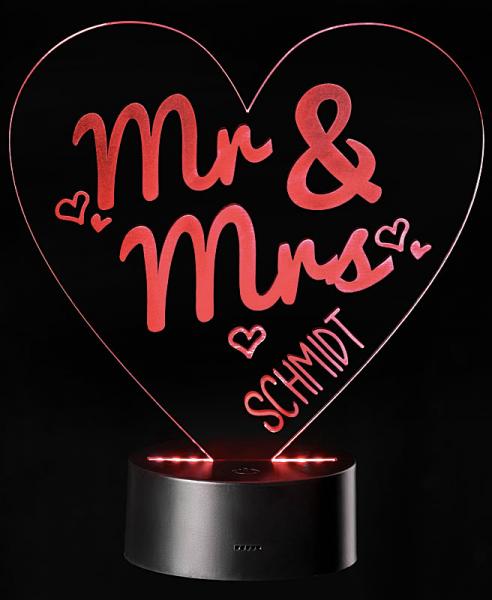 LED-Leuchte Herz - Mr & Mrs mit Personalisierung