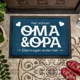 Fußmatte Oma & Opa - Elternregeln enden hier