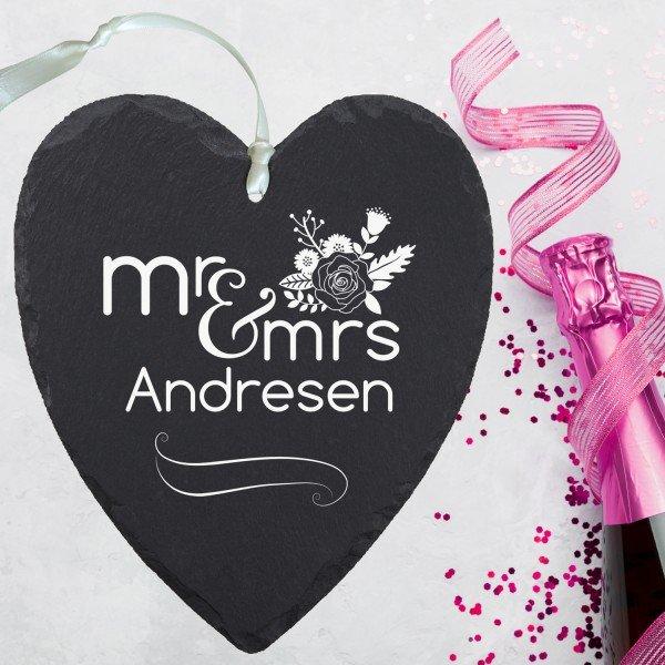 Schieferherz - Mr & Mrs mit Wunschname