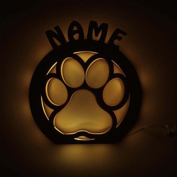Tischleuchte - Hundepfote mit Wunschname