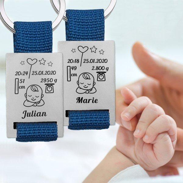 - Schlüsselanhänger zur Geburt für 2 Kinder - Onlineshop Geschenke24