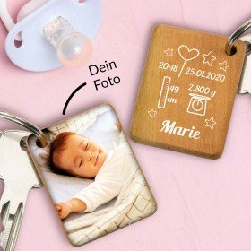 Schlüsselanhänger zur Geburt mit Foto