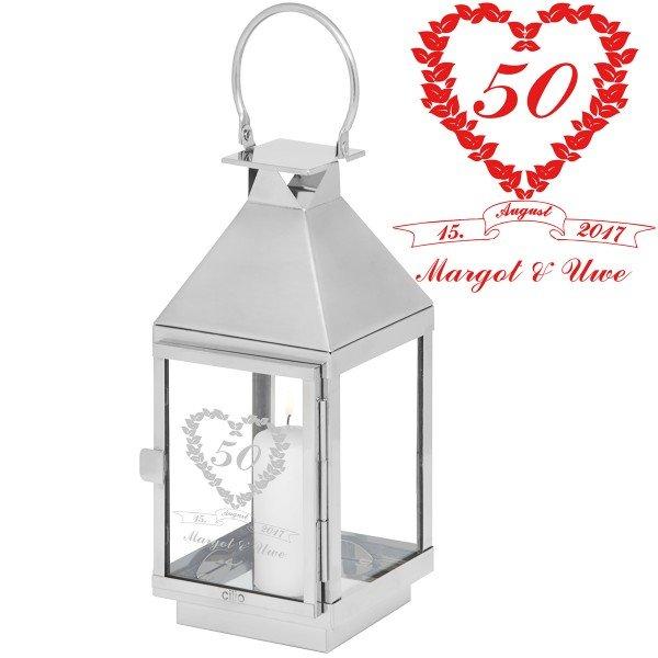 Laterne 50 Ehejahre mit Gravur