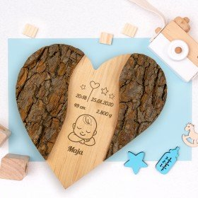 Holz-Herz - Zur Geburt