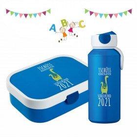 Tschüss Kindergarten - Brotdose und Trinkflasche mit Dino