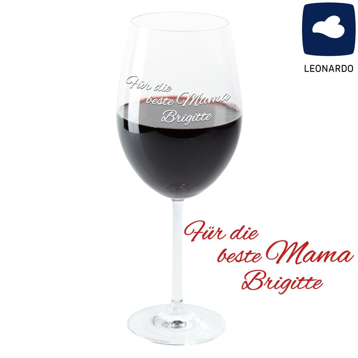"""Leonardo Weinglas mit Gravur /""""Beste Mama/"""" Geschenkidee Weinglas graviert"""