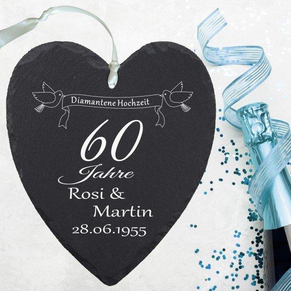 - Schieferherz Diamanthochzeit mit Personalisierung - Onlineshop Geschenke24