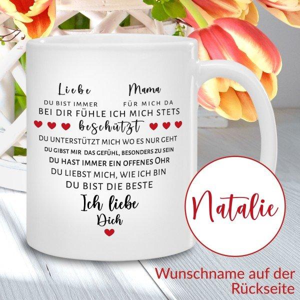 - Tasse Herz aus Worten für Mamas - Onlineshop Geschenke24