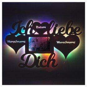 Ich liebe Dich Holz Bilderrahmen - Leuchte mit Farbwechsel