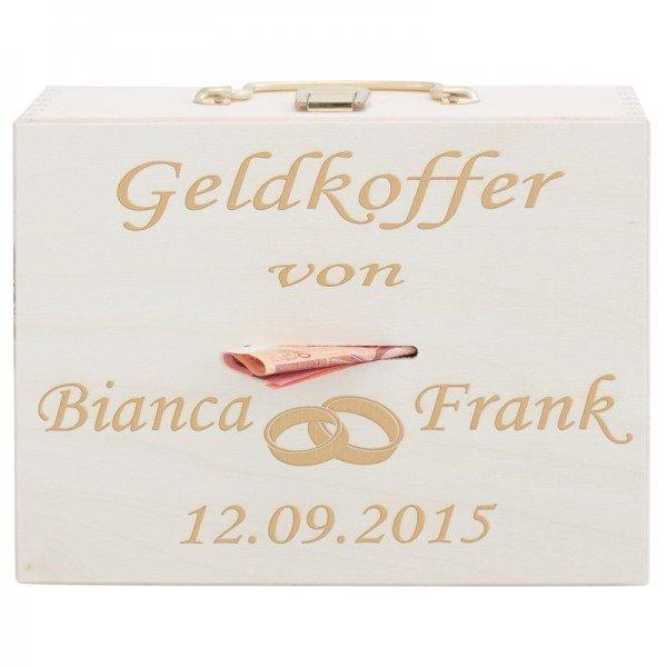 Geldkoffer zur Hochzeit - Ringe - Naturfarben