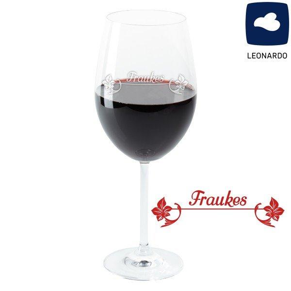 Weinglas - Blüten mit Personalisierung