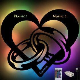 Farbwechsel Lampe - Herz mit Ringen