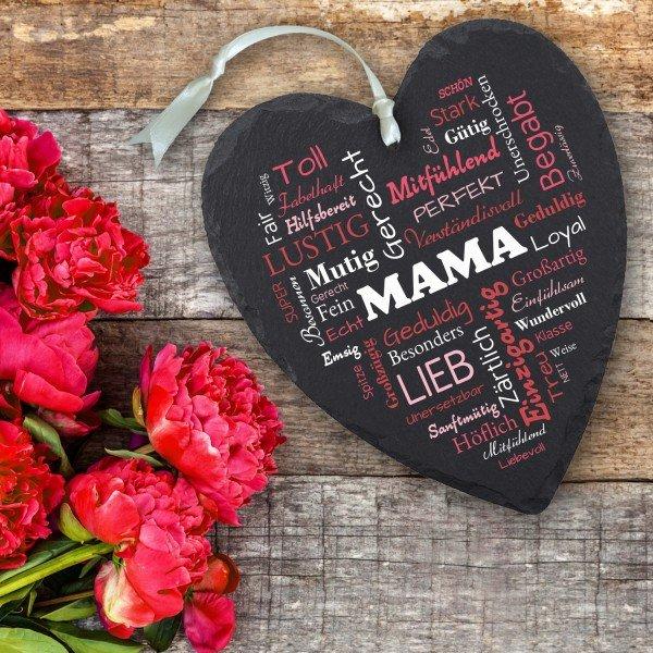 Schieferherz - Herz aus Worten für Mamas