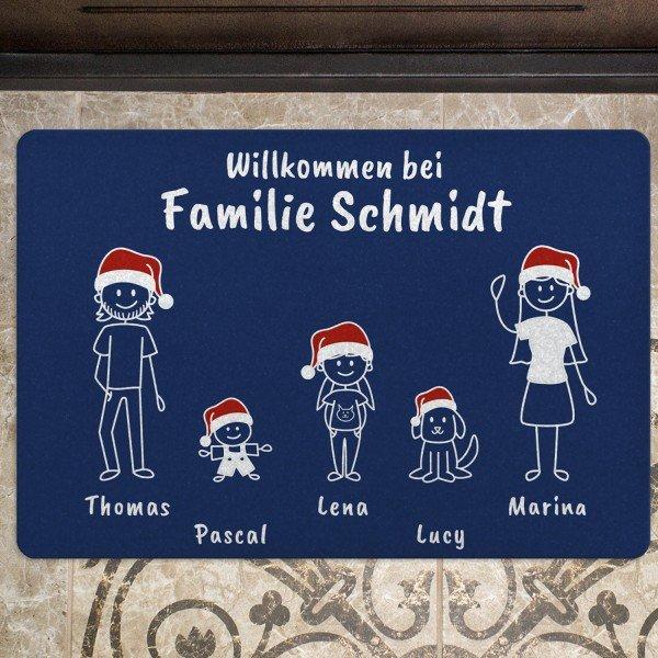 Fußmatte - Comic Familie - Weihnachtsedition