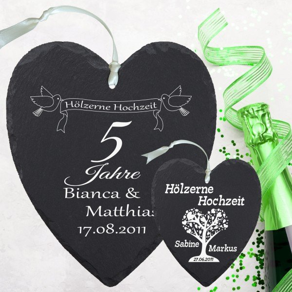 Schieferherz - Hölzerne Hochzeit