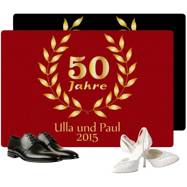 Fußmatte Goldene Hochzeit mit Namen und Datum