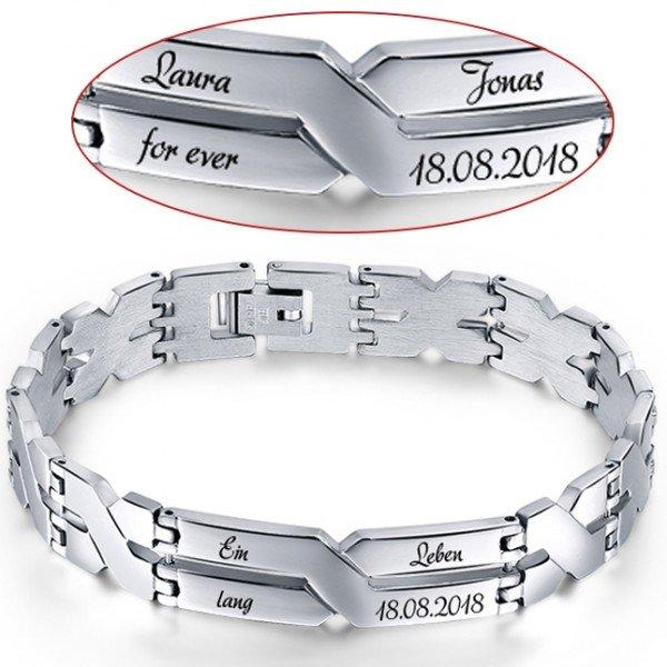 Edelstahl-Armband mit Gravur