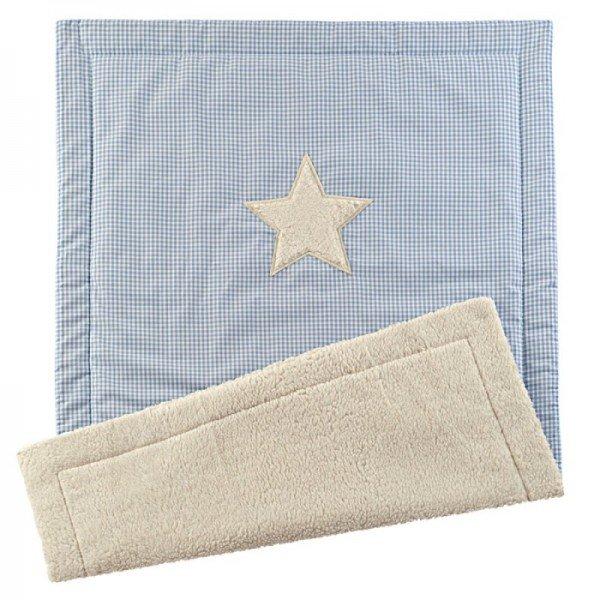 Flauschige Babydecke mit Wunschname - Stern - Blau