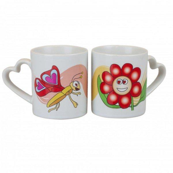 Tassen Set -  Schmetterling & Blume mit Wunschnamen