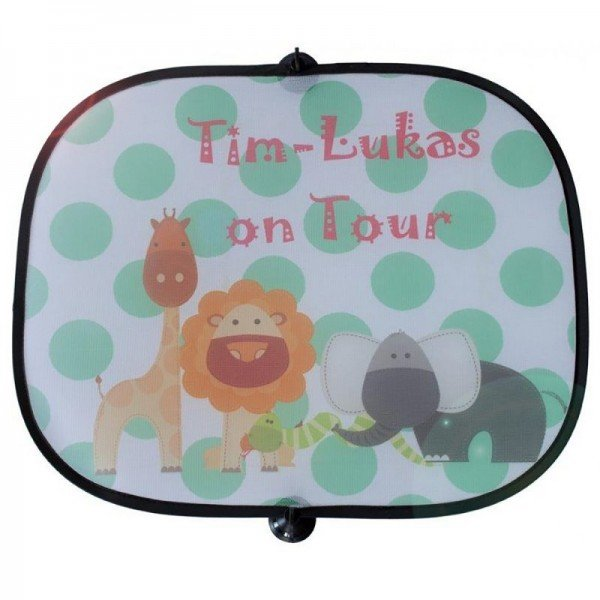 Auto-Sonnenschutz für Kinder mit Wunschname (grün)