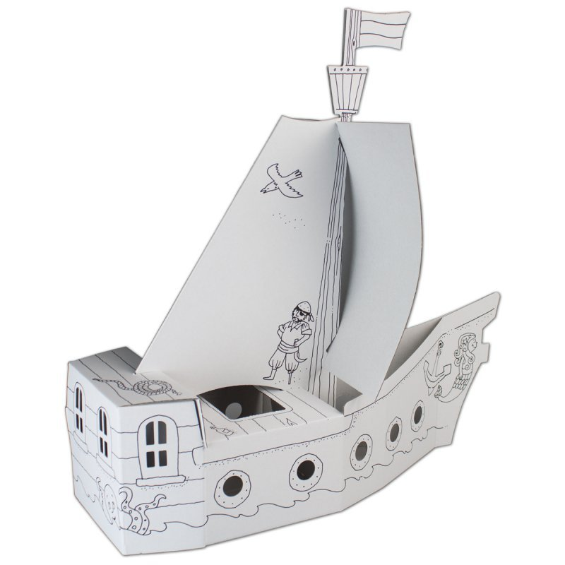 bastelset piratenschiff aus pappe. Black Bedroom Furniture Sets. Home Design Ideas