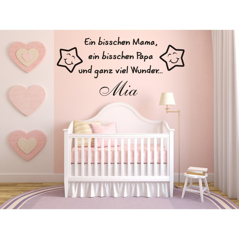 wandtattoo f r baby mit name ein bisschen mama papa. Black Bedroom Furniture Sets. Home Design Ideas