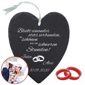 Schieferherz zur Hochzeit mit Personalisierung