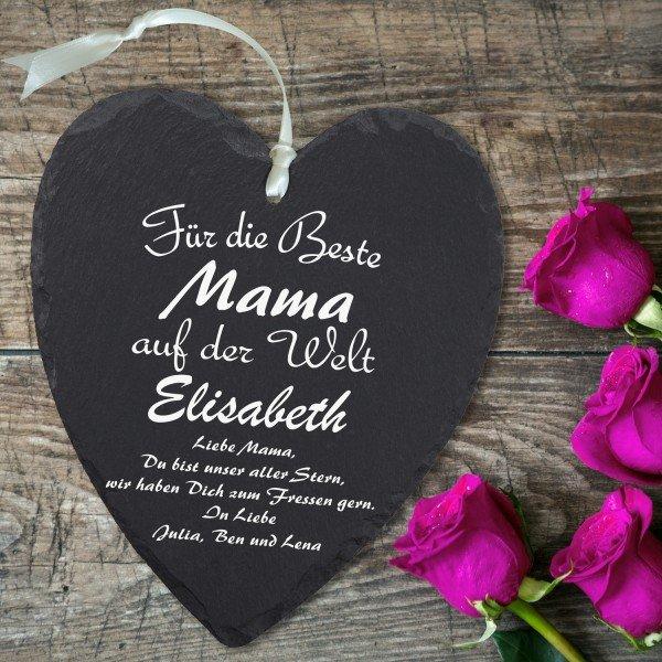 - Schieferherz Muttertag mit Personalisierung - Onlineshop Geschenke24