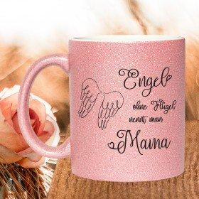 Glitzertasse - Engel ohne Flügel nennt man Mama