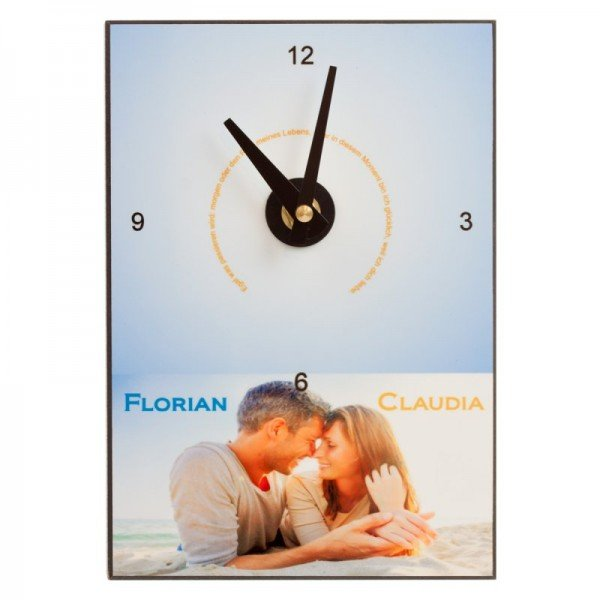 Uhr mit Foto und Namen (hängend)