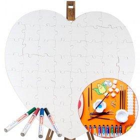 Holz Puzzle Herz Weiß