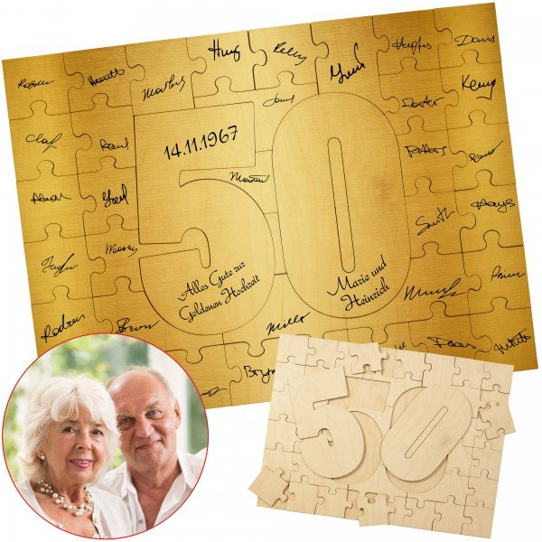 Holzmosaik – Goldene Hochzeit