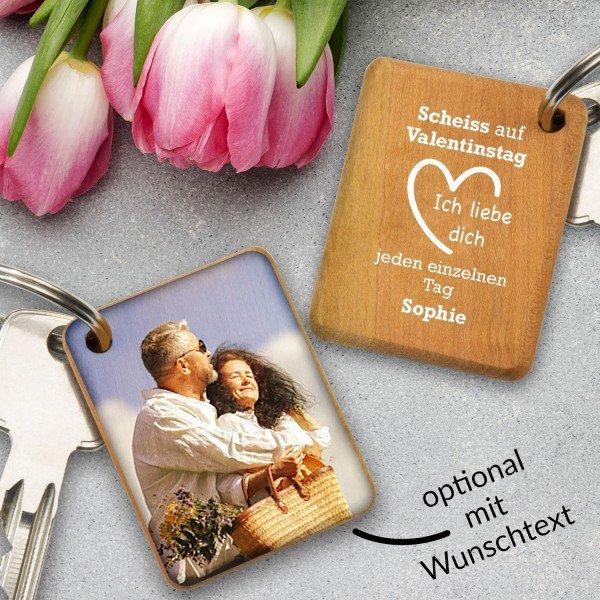 - Holz Schlüsselanhänger Scheiß auf Valentinstag - Onlineshop Geschenke24