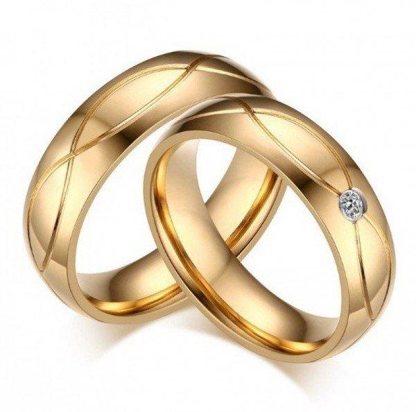 Partnerringe / Verlobungsringe Set - goldfarben mit Gravur