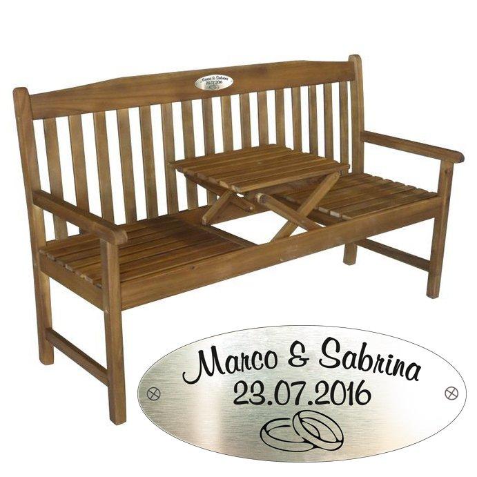 hochzeitsbank mit gravur aus akazienholz. Black Bedroom Furniture Sets. Home Design Ideas