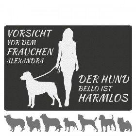 Fußmatte - Hund mit Frauchen