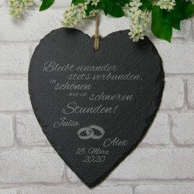Schieferherz zur Hochzeit mit Gravur Herzen