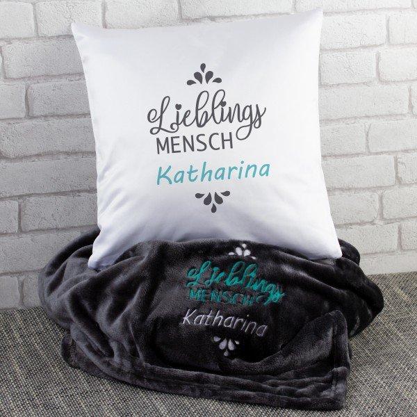 Lieblingsmensch Geschenkset mit Decke und Kissen