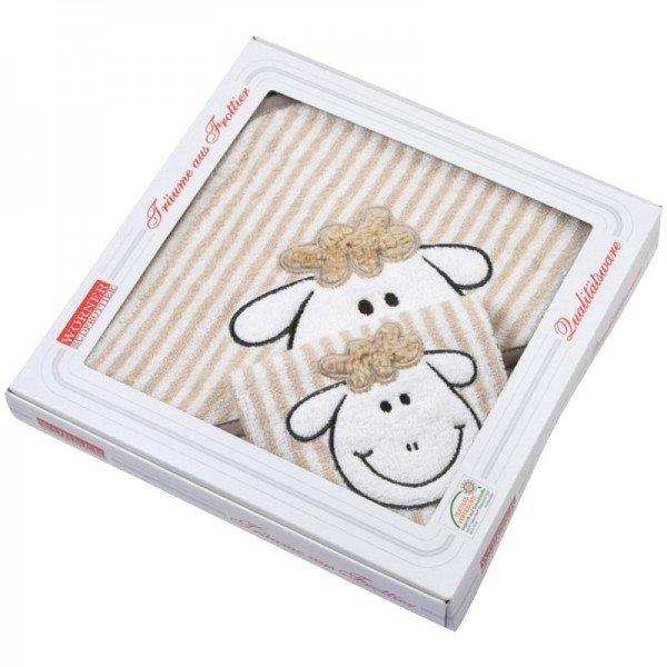 Kapuzenhandtuch und Waschlappen - Schaf