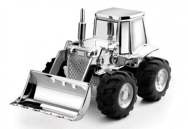 Spardose - Versilberter Traktor (vorne)