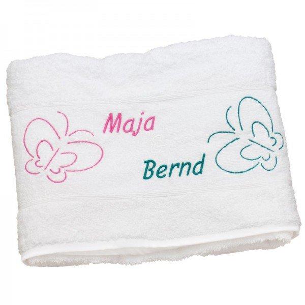Handtuch - Schmetterlingspaar mit Wunschnamen
