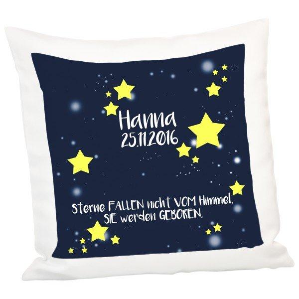 Kissen zur Geburt mit Stern-Motiv