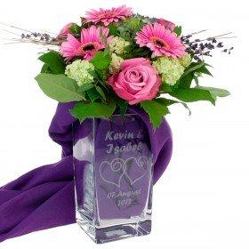 Vase mit Herzen und Personalisierung