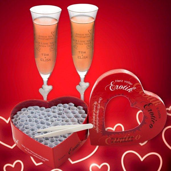 - Vergiss den Valentinstag Sektglas Set - Onlineshop Geschenke24
