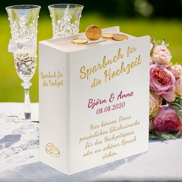 Sparbuch mit persönlichen Hochzeitssprüchen