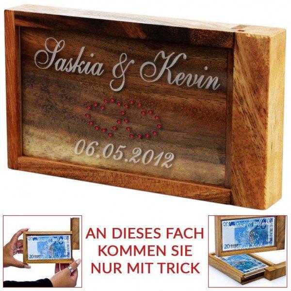 Magische Geldgeschenkbox mit Swarovski-Herzen mit Gravur
