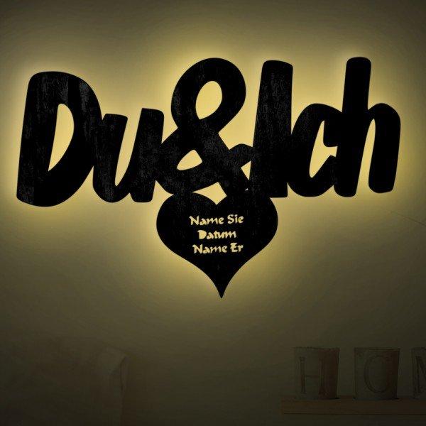 """Holzlicht """"Du & Ich"""" mit Personalisierung"""
